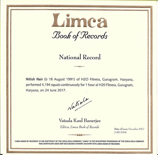 Nitish nair squats limca records